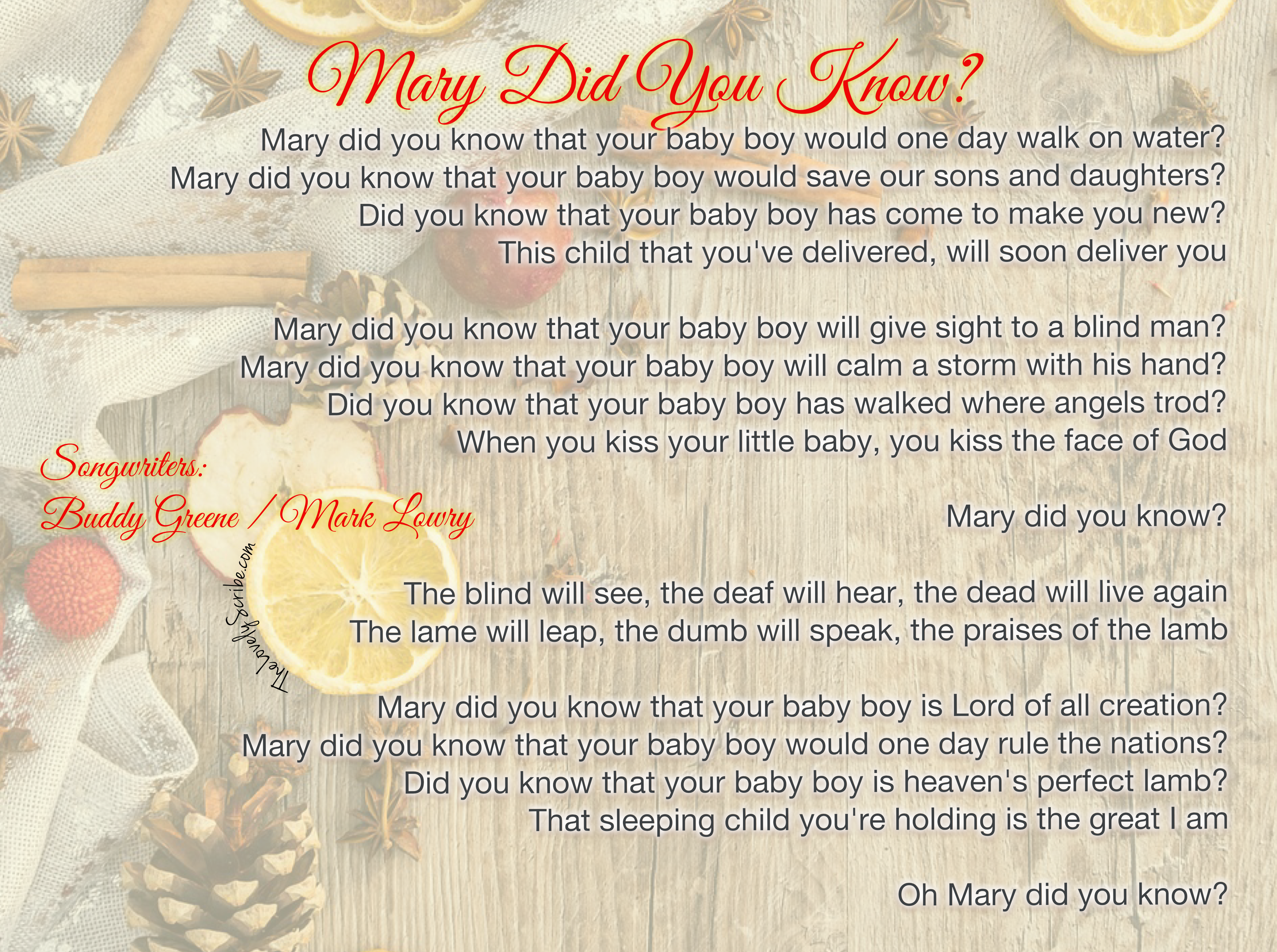 Mary Did You Know? | TheLovelyScribe com
